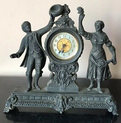 Antique Ansonia Frolic Man & Woman Mantle Novelty Clock Works