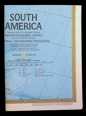 South America Map 1972 National Geographic Folded Supplement