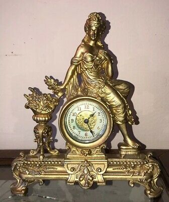 Antique Ansonia Gold Figural Woman With Flowers Victorian Mantle Clock