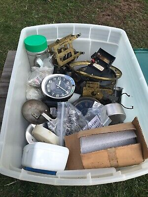 Tote Full Of Clock Spare Parts Cogs Springs Bells Salvaged Various