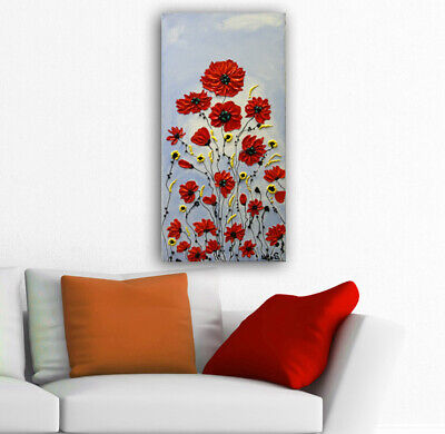 Original Abstract Poppy Painting Acrylic Textured Flowers on Canvas by Nata S
