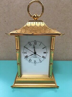 Tiffany & Co gilded brass Pagoda bamboo clock vintage rare Swiss 1976 Quartz