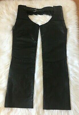 THE LEATHER SHOP Vintage Black Cowboys Motorcycle Leather Chaps