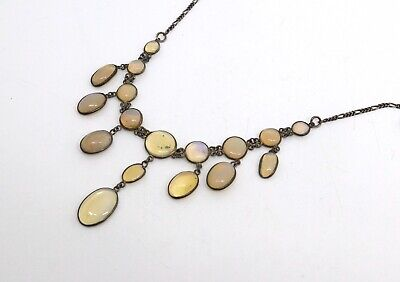 A Very Nice Antique Edwardian Opal Glass Sterling Silver Necklace #18772