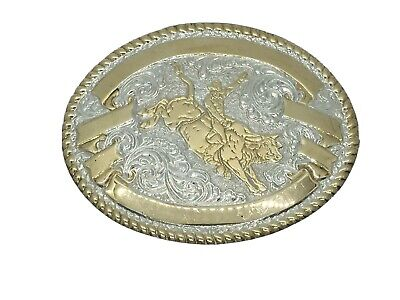 Championship Rodeo Bull Riding Rider Color Cowboy Western Metal Belt Buckle