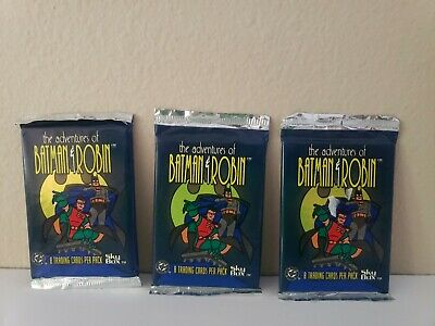 3 Packs SKYBOX 1995 THE ADVENTURES OF BATMAN & ROBIN TRADING CARDS (8 Cards)