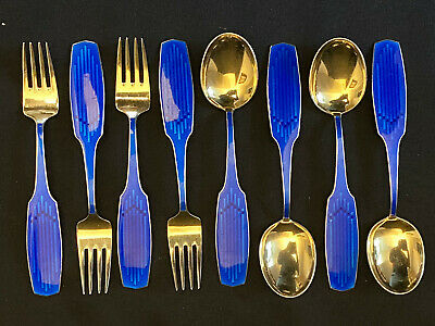 1961 Anton Michelsen Sterling & Enamel Christmas Spoon Fork Set of 8