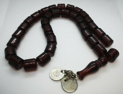 Rare Antique Ottoman Red Cherry Amber Bakelite silver 33 Prayer Beads 61 Grams