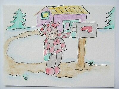 ACEO Original Watercolor Big Mailbox Cat Kitty House Trees by Artist MiloLee