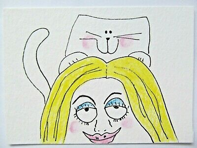 ACEO Original Watercolor Cat Kitty Woman Hair Massage Signed by Artist MiloLee