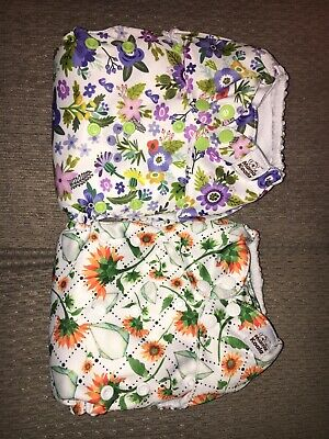 Mama Koala Cloth Diapers Lot Of 2 Flower EUC  One Size Adjustable
