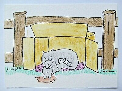 ACEO Original Watercolor Cat Box Mama Kitty Kittens Signed by Artist MiloLee