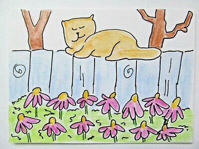 ACEO Original Watercolor Cat Kitty on Fence Perch Flowers Tree by Artist MiloLee