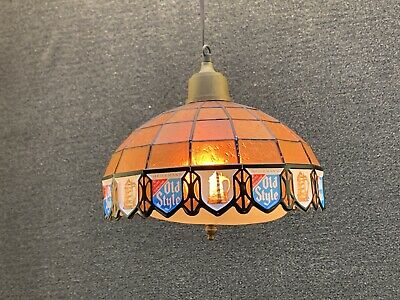 Vintage Heileman Old Style Beer Lighted Stained Glass Sconce Lamp Shade Sign