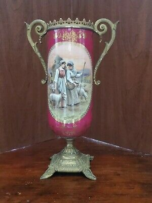 Sevres style Vase Urn Porcelain Bronze Mounts  Hand Painted