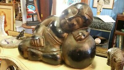 Vintage Chinese Oriental Hand Carved Sculpture. The Buddha as a child
