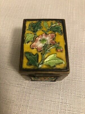 Antique Chinese Cloisonne Enamel Brass Trinket Spice/Pill Jar Box