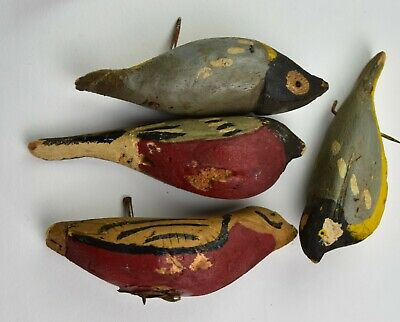 Early 1900s Antique Folk Art Hand Carved Wood Bird LOT HAND PAINTED