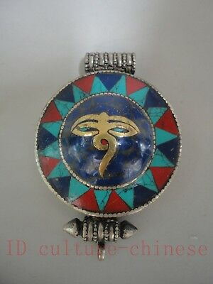 Rare Collection Old China Tibet Silver Inlaid Turquoise Coral Snuff Box Pendant