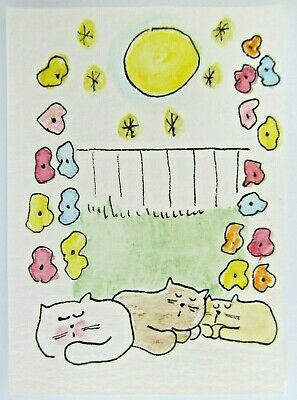 ACEO Original Watercolor Cats Kitties Late Night Moon Signed by Artist MiloLee