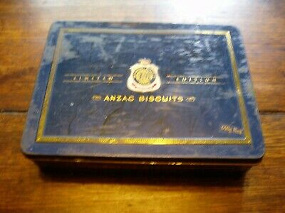 rare first original 2002 anzac tin with papers and badge on top limited edition