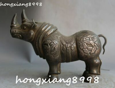 Chinese Ancient Pure Old Silver Fenghuang Phoenix Rhinoceros Animal Beast Statue