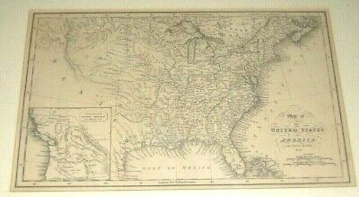 Map Of UNITED STATES of AMERICA 19th Century By Fenner Sears & Co. Antique nice