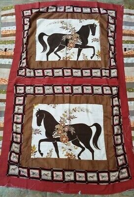 Unfinished Quilt Top Panel Horses 127x162cms
