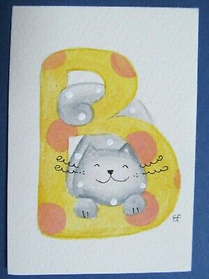 ACEO Original Watercolor Paintings Happy Cat Letter B Alphabet Elisa Fermo Italy