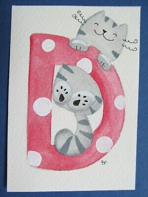 ACEO Original Watercolor Paintings Happy Cat Letter D Alphabet Elisa Fermo Italy