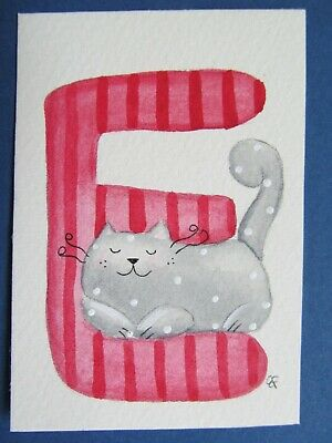 ACEO Original Watercolor Paintings Happy Cat Letter E Alphabet Elisa Fermo Italy