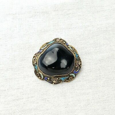 Antique Chinese Export Gilt Silver Enameled Brooch With Unusual Stone