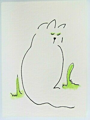 ACEO Original Watercolor Cat Stylized White Green Si Am Kitty Signed by MiloLee