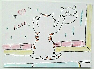 ACEO Original Watercolor Cat Kitty Love Window Painting Signed by Artist MiloLee