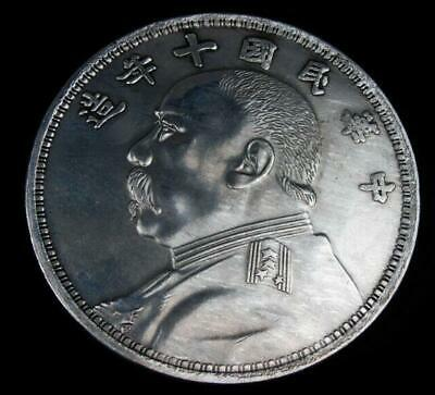 Palm Sized Huge Chinese *Chinese General* Coin Shaped Paperweight 88mm /Ta01