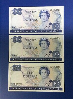 3 x New Zealand Replacement Star $10 Hardie Banknotes - NB 635831* to 833* - UNC
