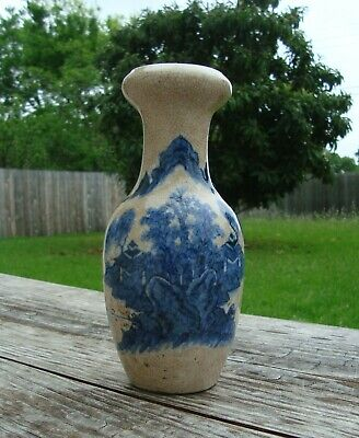 Antique Chinese Crackle Blue Under Glaze Porcelain Vase Ca. 19th Century