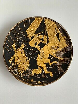 Damascene gold Don Quixote vintage plate black and gold plated