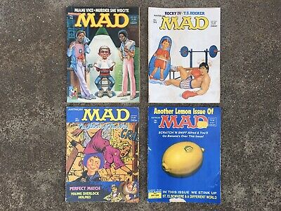 4x VINTAGE COLLECTABLE 1980s MAD AUSTRALIAN COMICS No 261-262-263-281 (ROCKY IV)