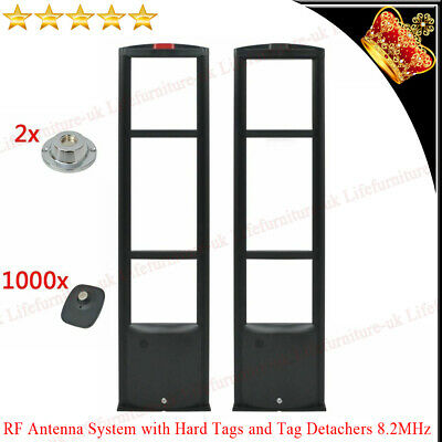 RF Antenna security System Set with Hard Tags and Tag Detachers 8.2MHz Black Pin