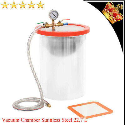 Vacuum Chamber Stainless Steel 22.7L for Degassing Operation Accessory 29.5x39cm