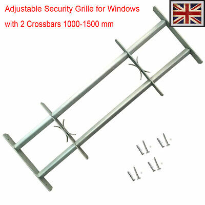 Adjustable Security Grille for Windows with 2 Crossbar 1000-1500mm Safe Steel