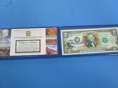 USA Colorized TWO  Dollar Collectors Note ' Grand Canyon National Park' Unc