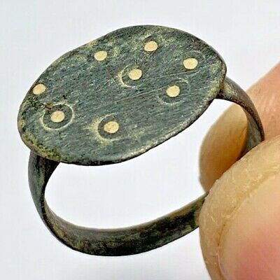 INTACT BYZANTINE BRONZE  RARE RING CIRCA 500-700 AD 2.8gr 22mm (inner 20mm)
