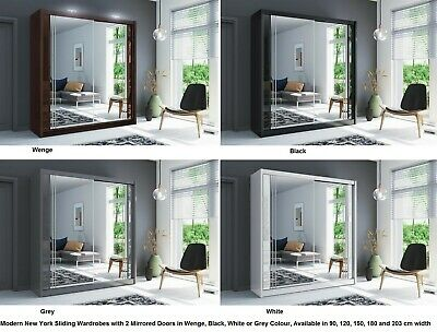 New York Modern Mirrored Sliding Door Wardrobe  5 Sizes 4 Colours - LED Optional