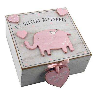 Baby Girl wooden Memories Keepsake Box Vintage Style