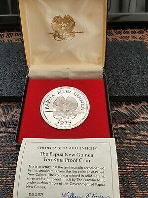 1975 Papua New Guinea Silver Proof 10 Kina Cased with coa 42 grams