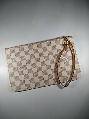 Louis Vuitton Pochette Wristlet Pouch Damier Azur Rose Ballerine AUTHENTIC MM
