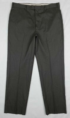 Brooks Brothers Mens Dark Gray Striped Wool Flat Front Dress Pants Sz 36R B8