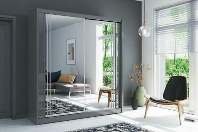 New York Modern Sliding Door Mirrored  Wardrobe In Grey - LED Optional